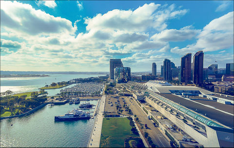San Diego Bay. A partial view of San Diego Bay and the skyline from the top floor of the Hilton San Diego Bayfront.