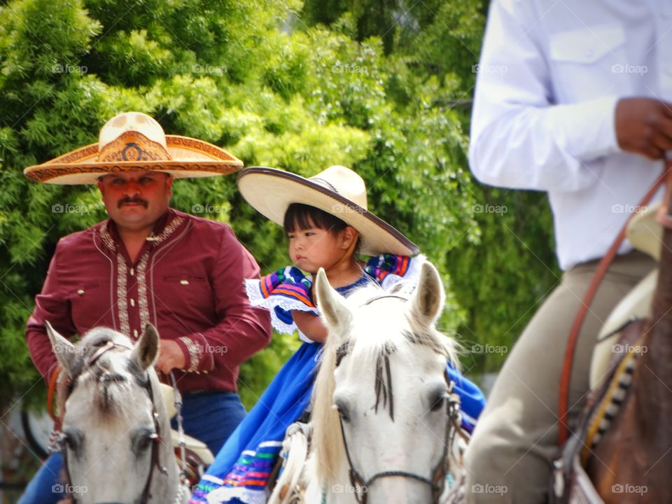 Mexican Cowboy And Daughter. Love Of A Father And Daughter, Cowboy Style