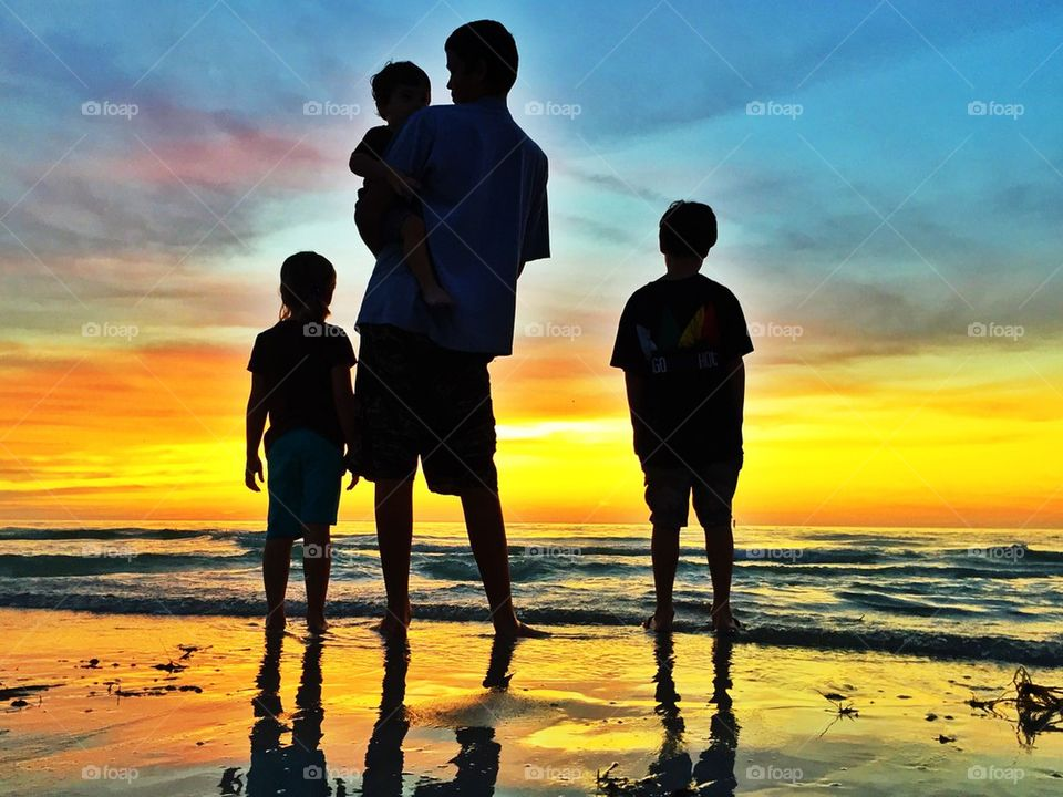 sunset | beach, sea, sun, silhouette