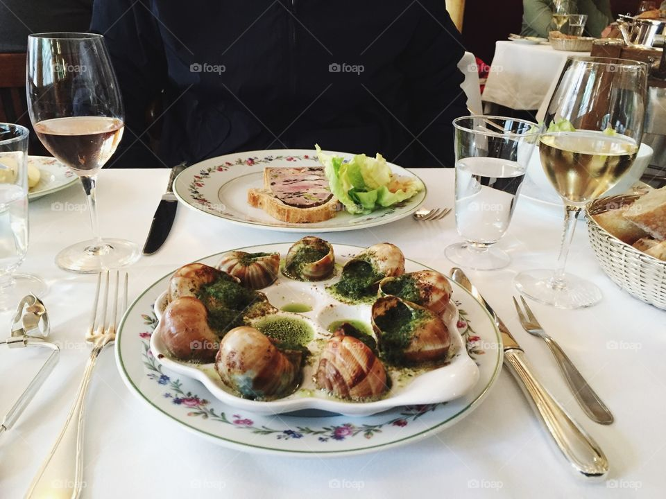 Delicious french food on plate in restaurant