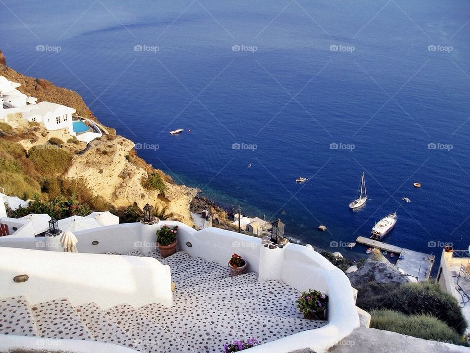 Santorini's sea and caldera view