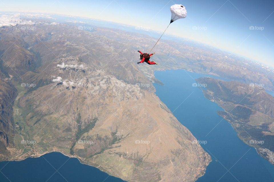 Sky diving over Queenstown, New Zealand