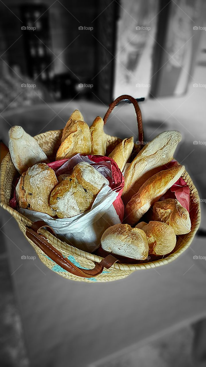 bread. a basket of bread for barbecue