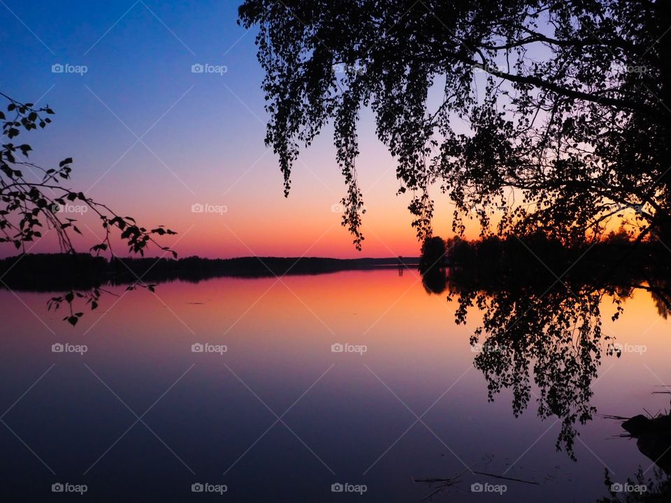 Lakescape with a beautiful sunset colors.