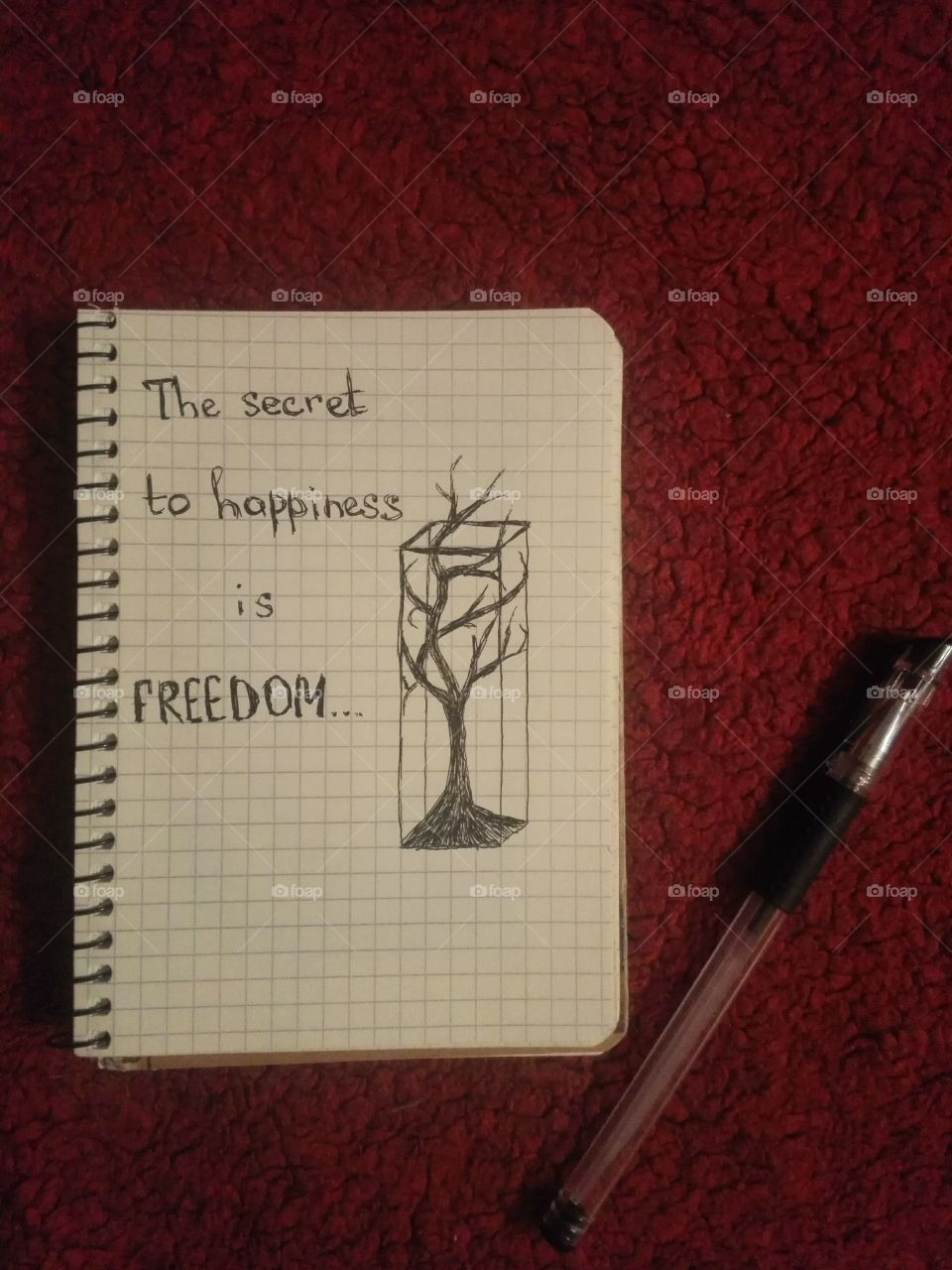 Notebook with quote about freedom and pen on red background