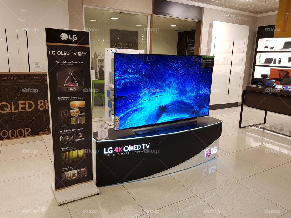 LG OLED TV display at Peter Jones Sloane square Chelsea King's road London