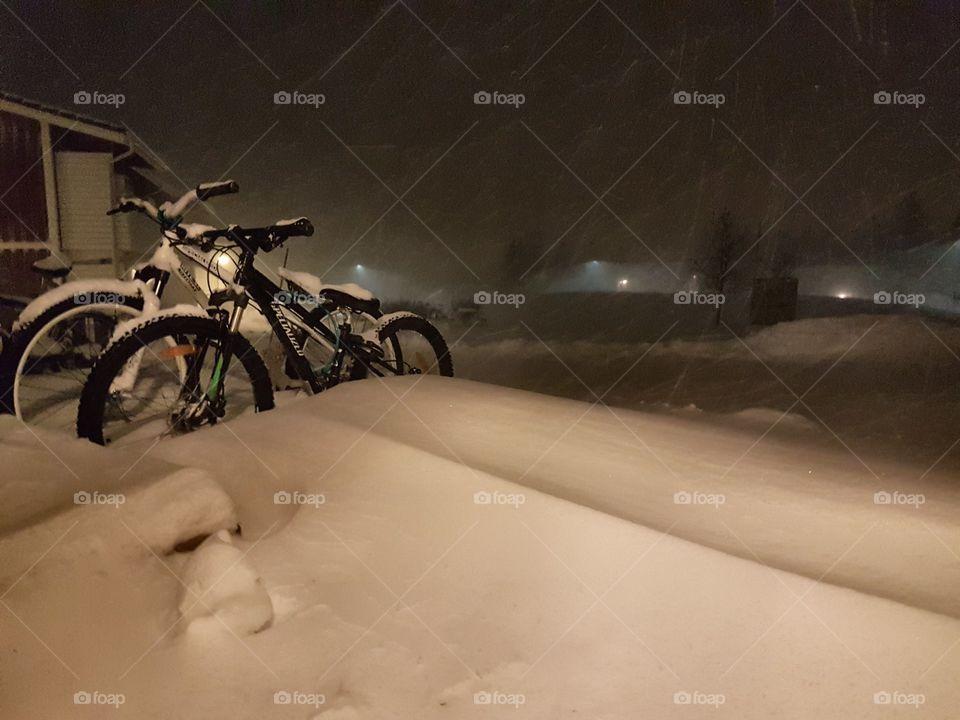 Snowing night