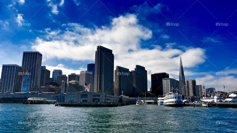 Port of San Francisco . View of the Port of San Francisco from a boat.
