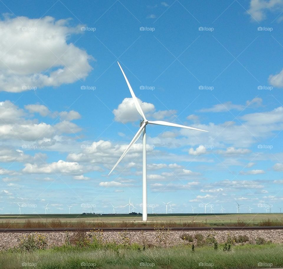 windmill turbines, more on horizon in background
