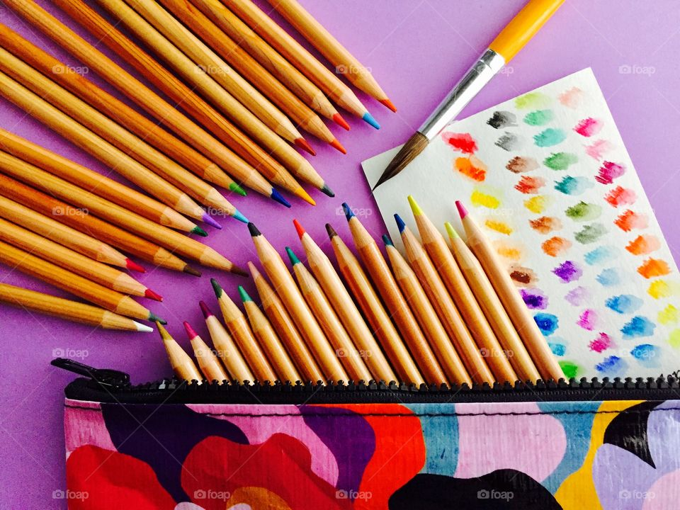 Arranged colored pencils