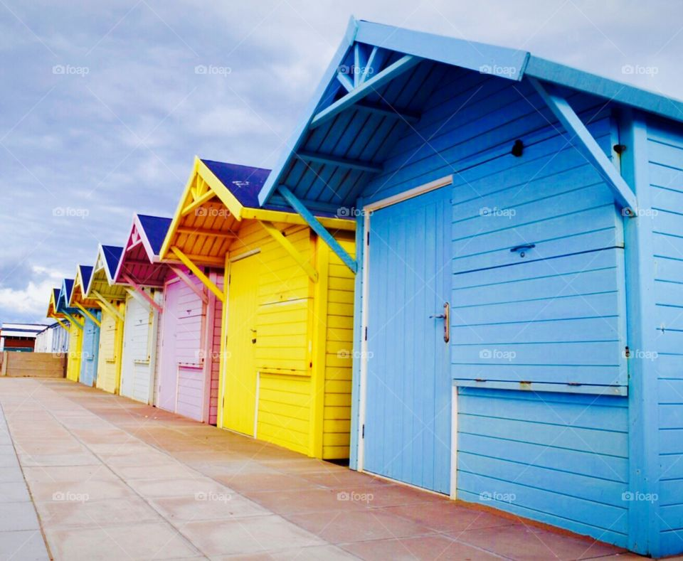 Beach hut ...   These colours remind me of different flavours of ice cream ..blueberry,banana,strawberry,vanilla, Mango,bubblegum, and pineapple 😋😃