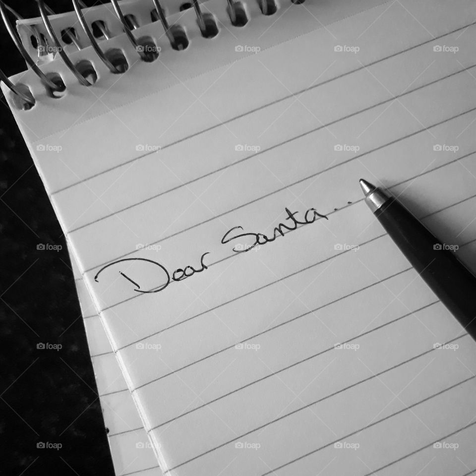 Letter to Santa in black and white