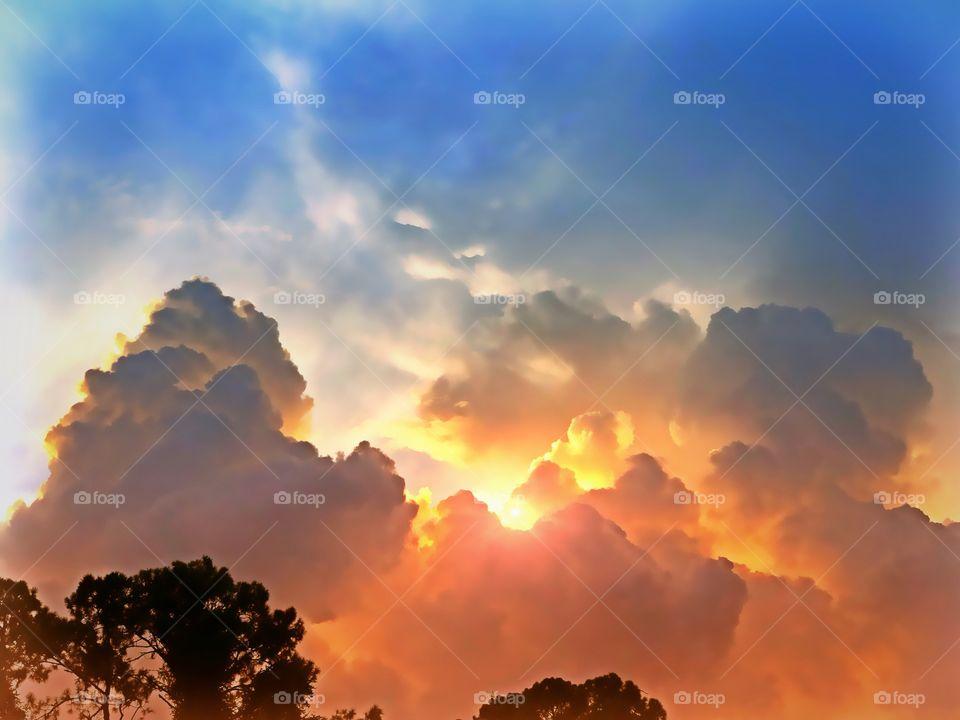 Dramatic orange and golden sunset.