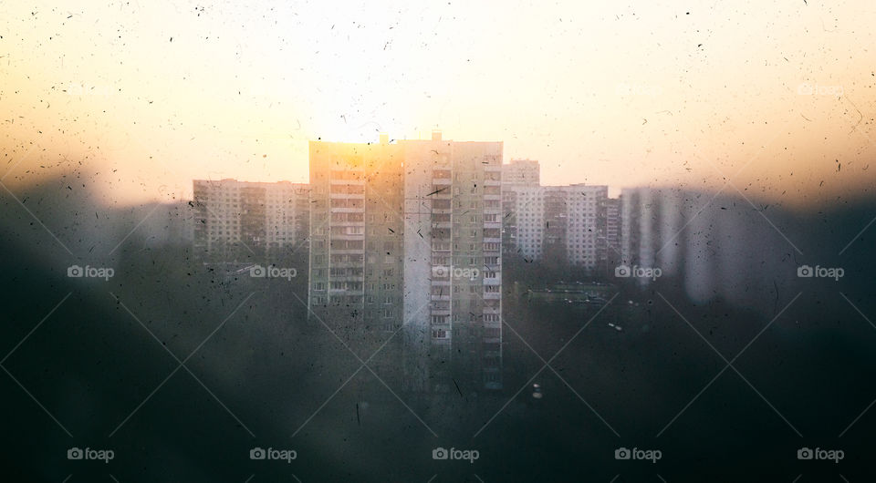 USSR homes vintage sunset