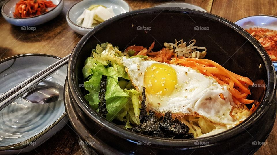 Dolsot Bibimbap - Korean Rice with vegetables and beef