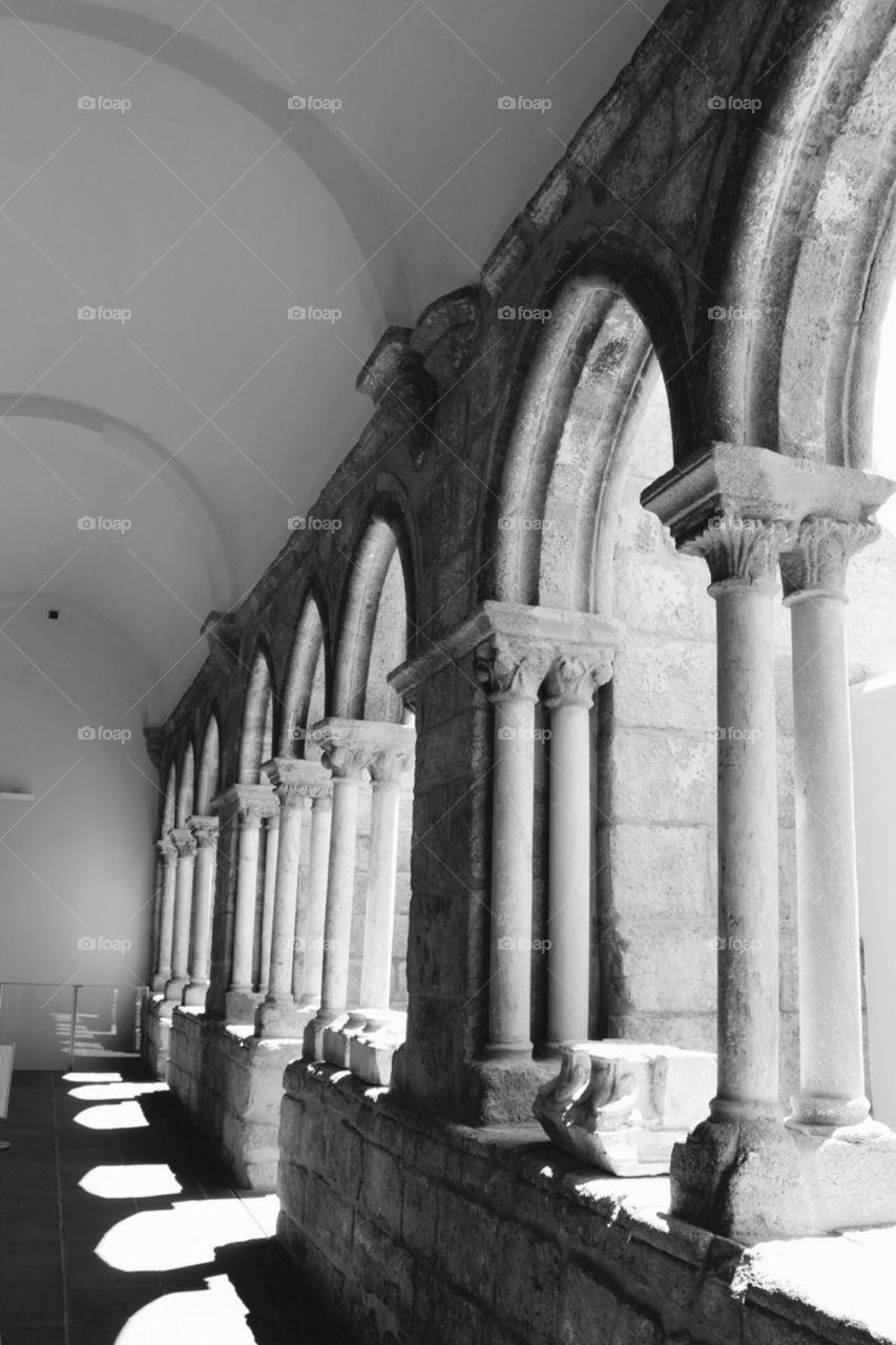 Monastery Arcades, B&W Art and Photo