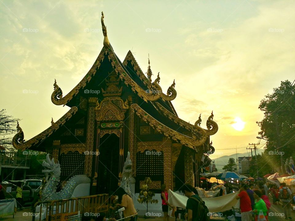 Thai temple.. Thai temple in evening.