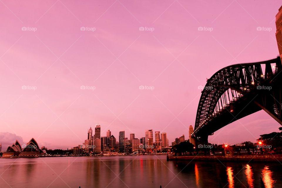 Sydney at dusk.