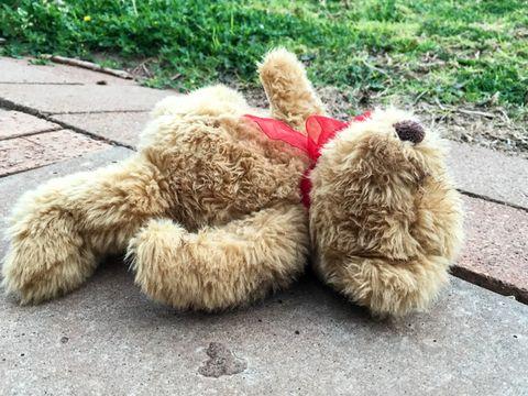 Abandoned teddy bear on ground