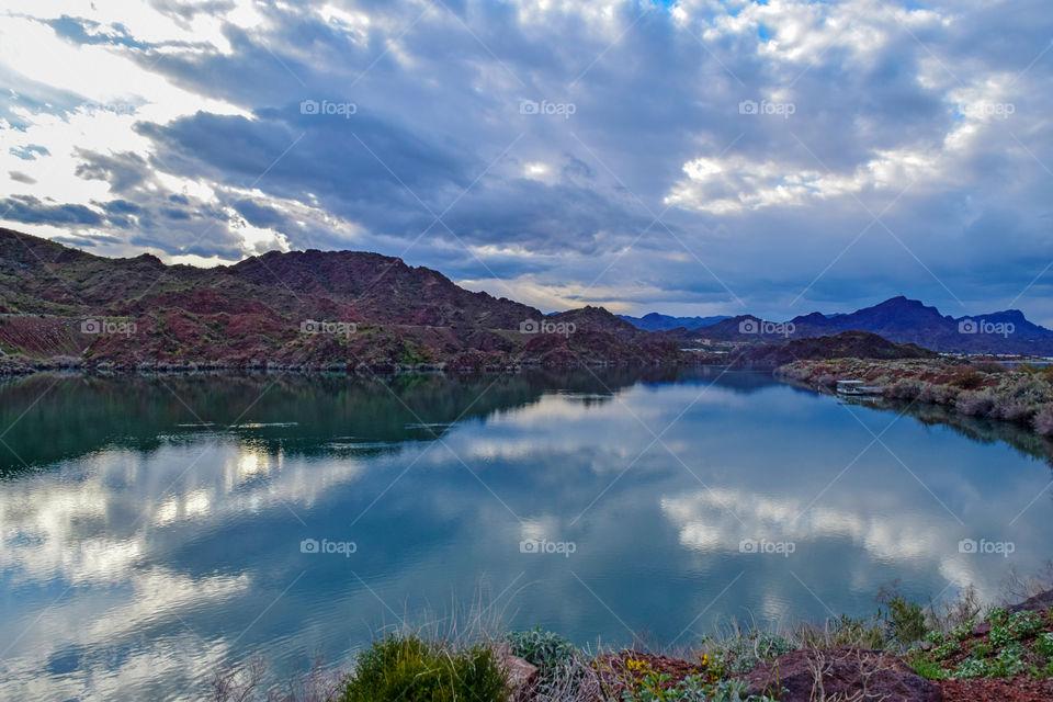 Beautiful clouds reflecting on the lake