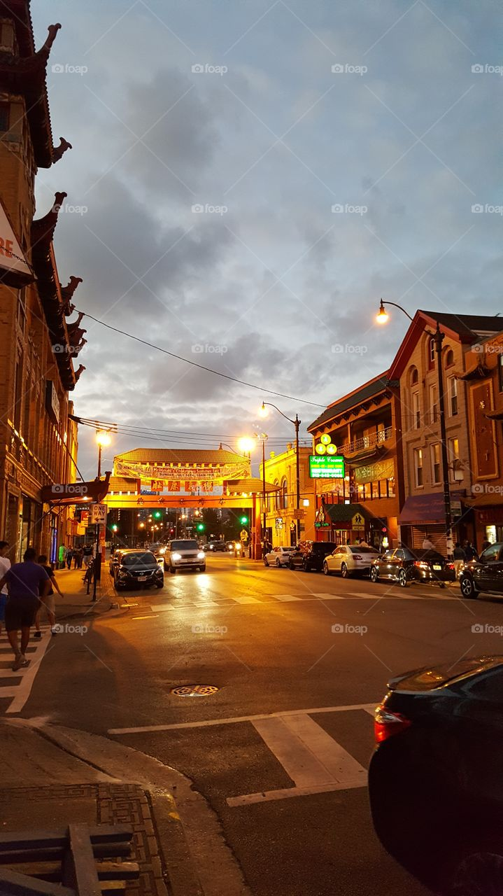 Chinatown at night, Chicago, IL