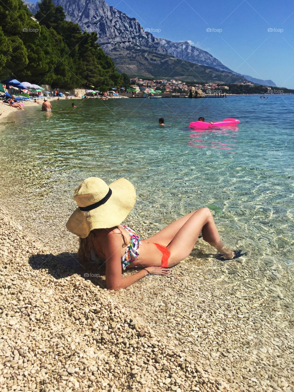 Woman resting at beach in Croatia