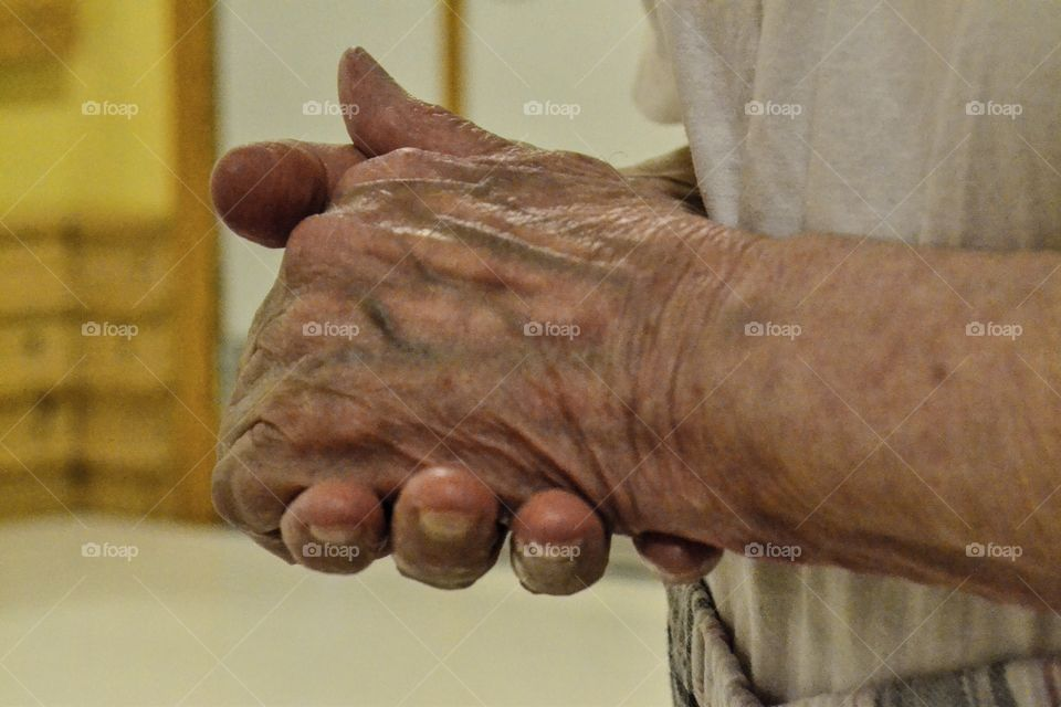 Old womans hands