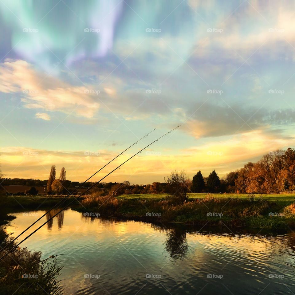 Fishing scenic river