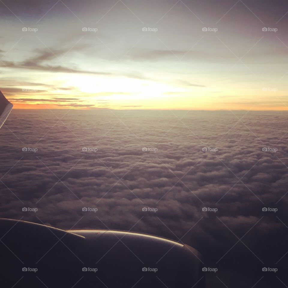 Beautiful sunrise. Look out the window seeing the beautiful sunrise