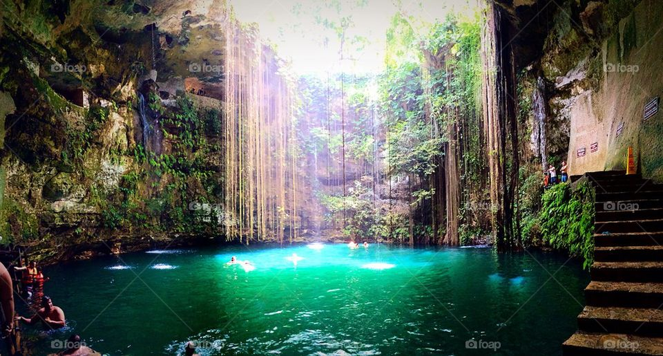 View of Ik-Kil Cenote, near Chichen Itza, Mexico