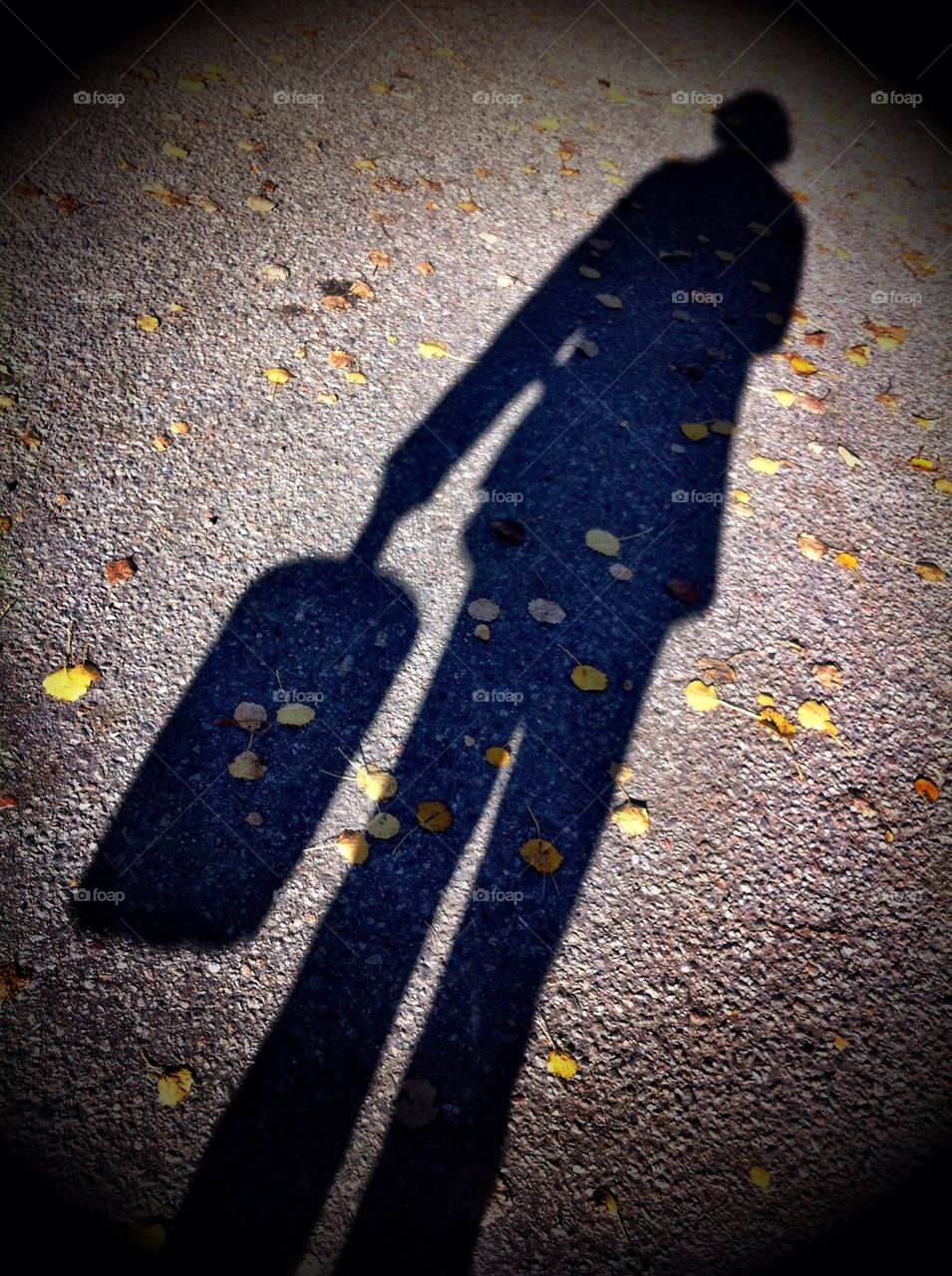 Shadow picture of women with bag.