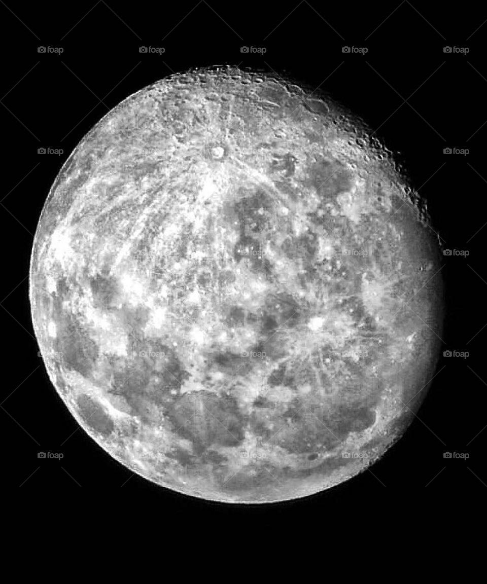 The moon through a telescope—taken in Ludington, Michigan