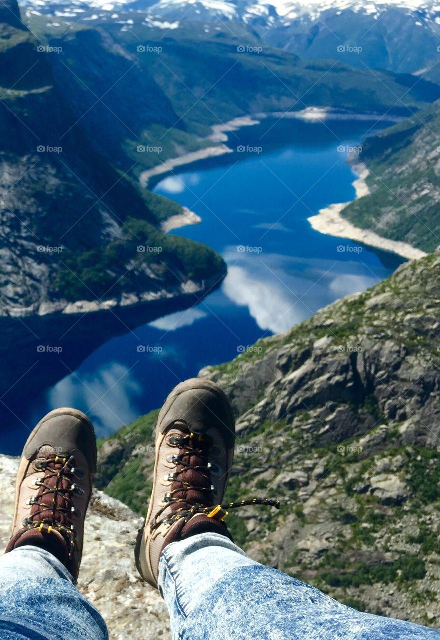 Hiking boots at Trolltunga