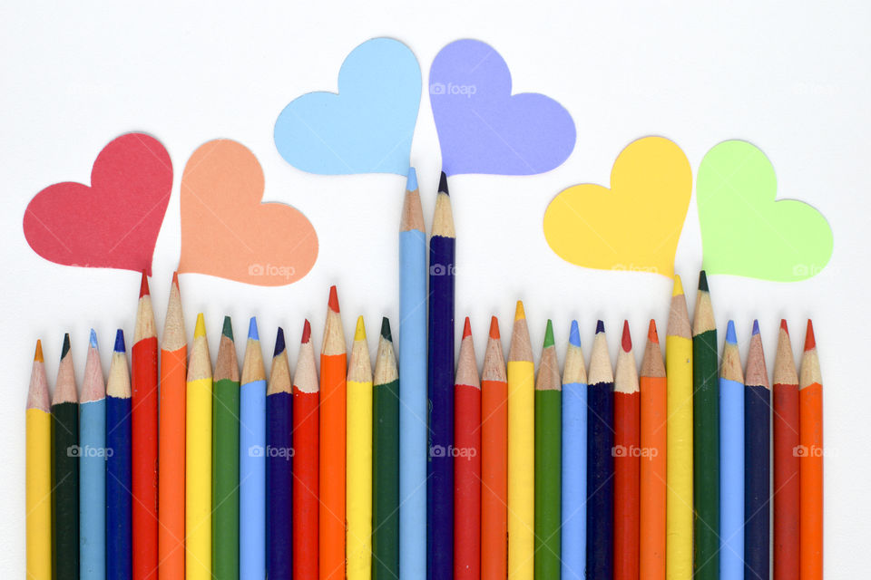 Hearts and Colored Pencils