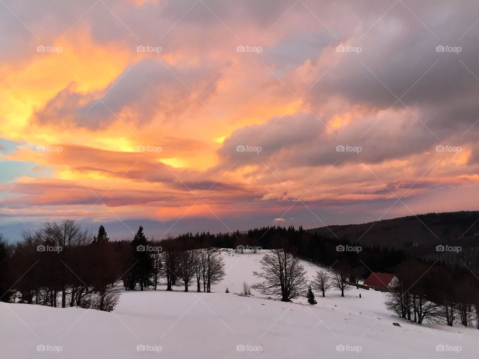 Beautiful sunset in winter over a chalet surrounded by forest