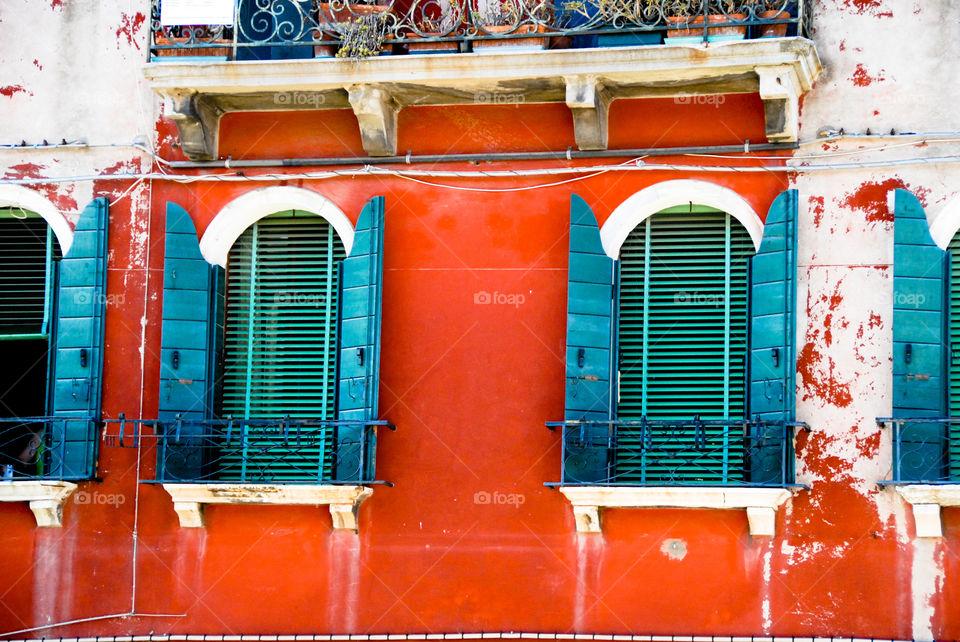 Windows of murano, Italy