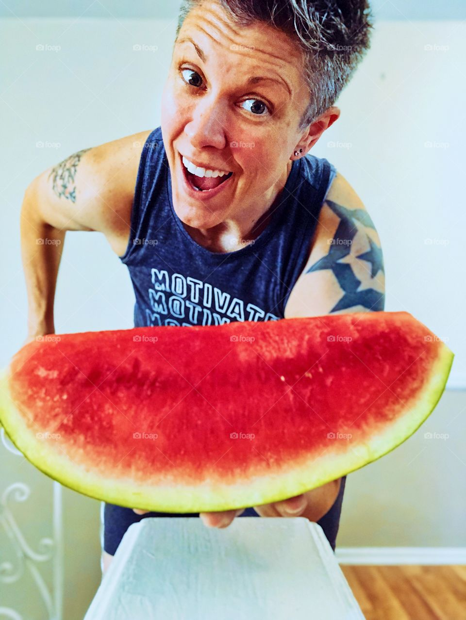 Woman With Large Watermelon, Funny Girl Portrait, Farm Fresh Fruits, Summertime Fruits, Serving Watermelon
