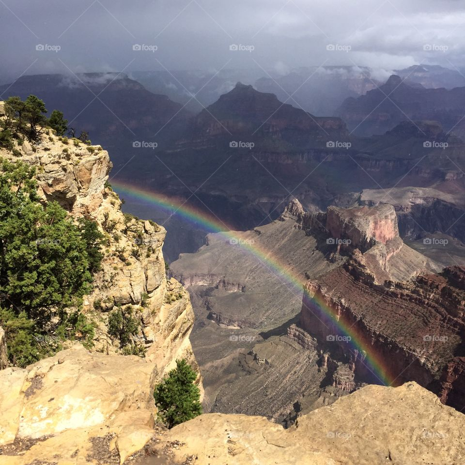 Rainbow at Hopi Point. Morning sun after the rain brought a stunning rainbow at Hopi Point, Grand Canyon