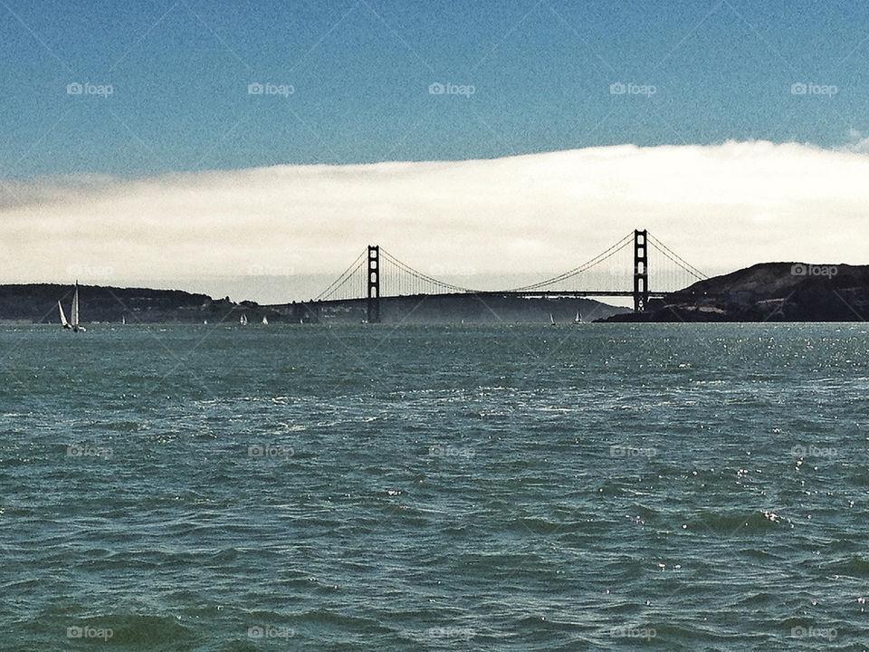 Fog bank engulfs the Golden Gate Bridge