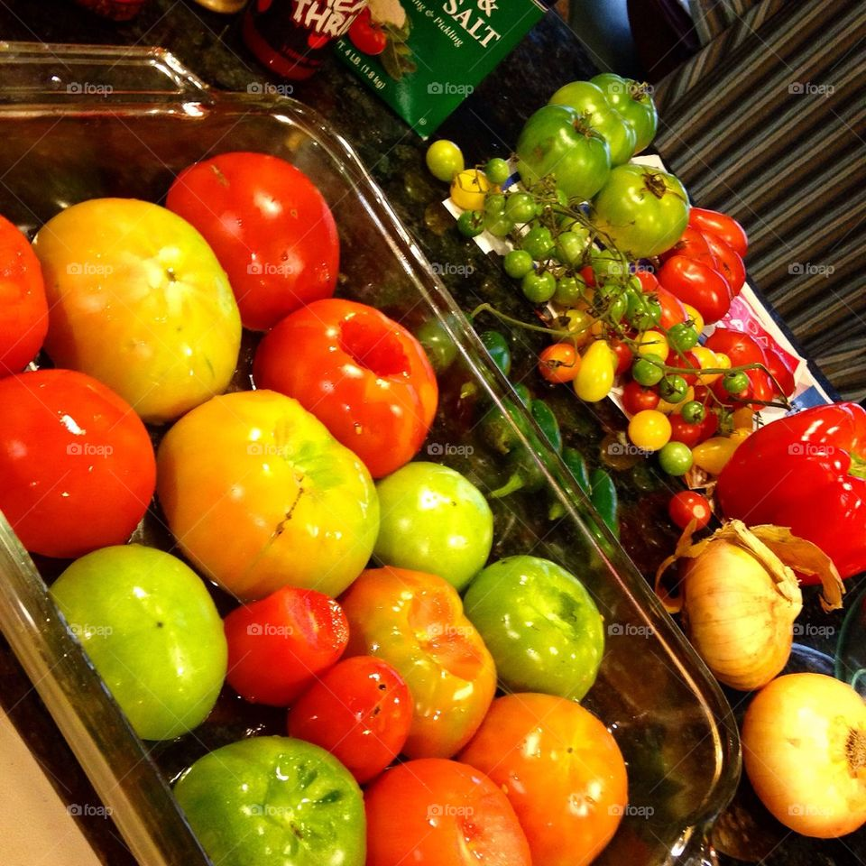 Prepped Tomatoes for Roasting
