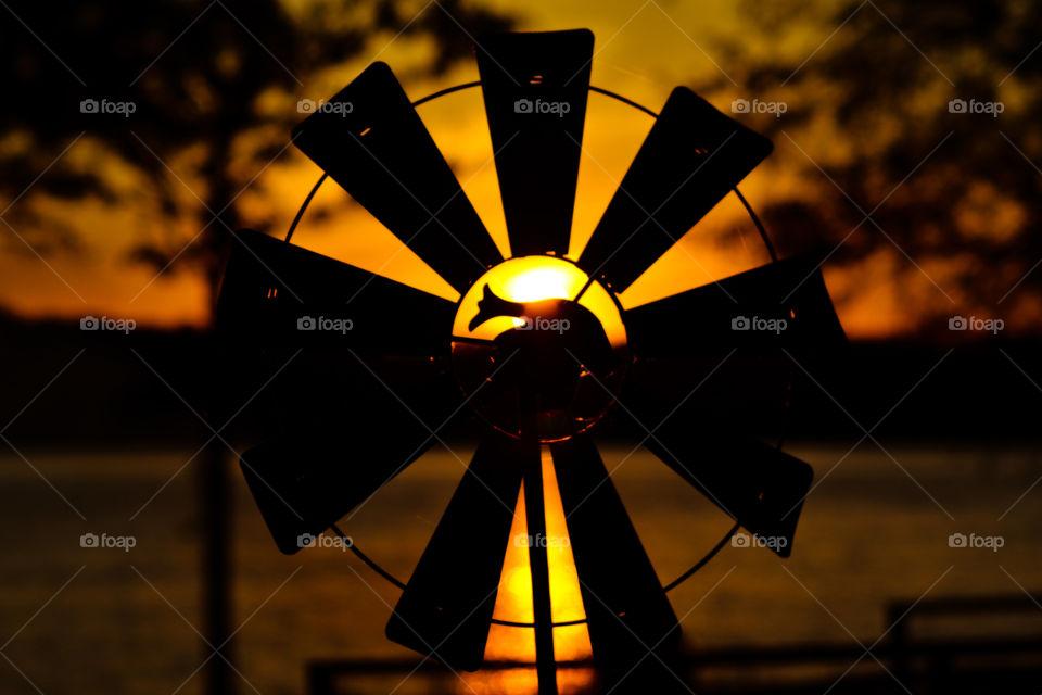 Windmill sunset at Logan Martin Lake in Talladega Alabama