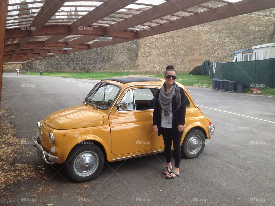 Tiny car for tiny girl . Welcome to Rome