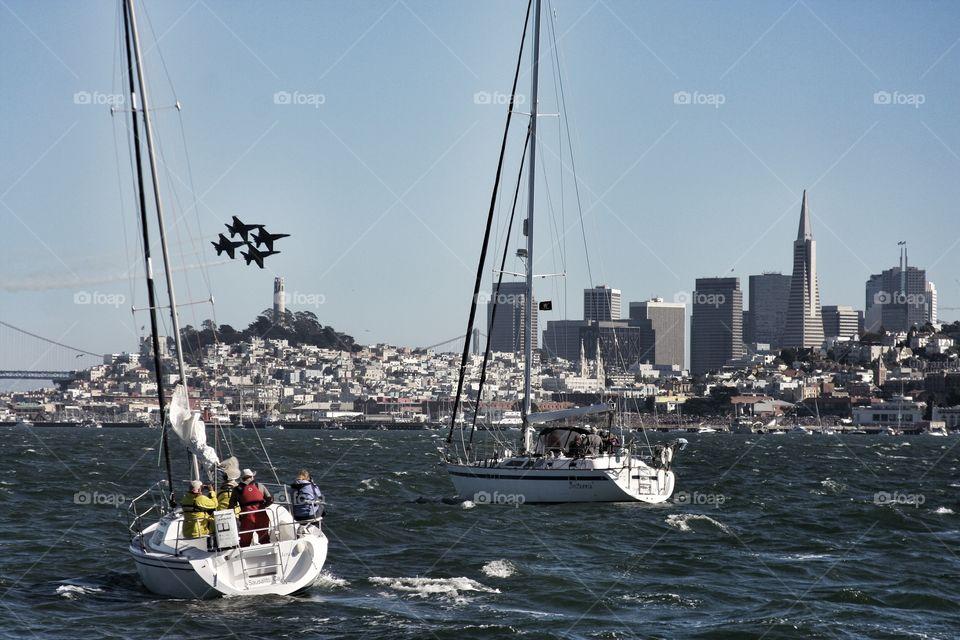 Blue Angels . Blue Angel formation above the San Francisco Bay during fleet Week