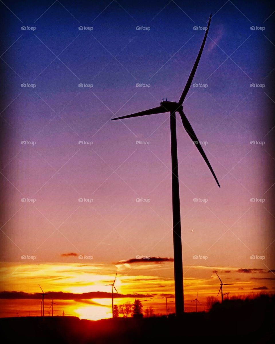 sunset with a windmill