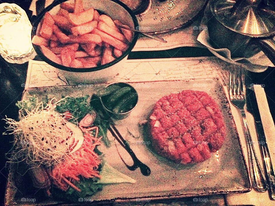 Close-up of steak tartare