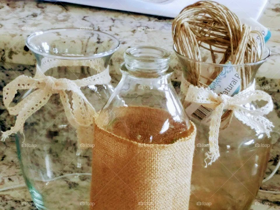 Ribbons Vases and Bottle