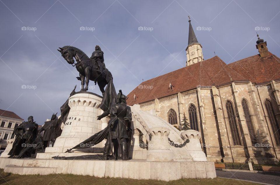 Statue of Matei Corvin, Cluj-Napoca, Transylvania, Romania