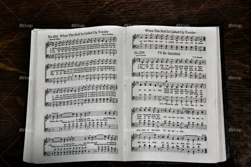 Old book of hymns of music notes and words