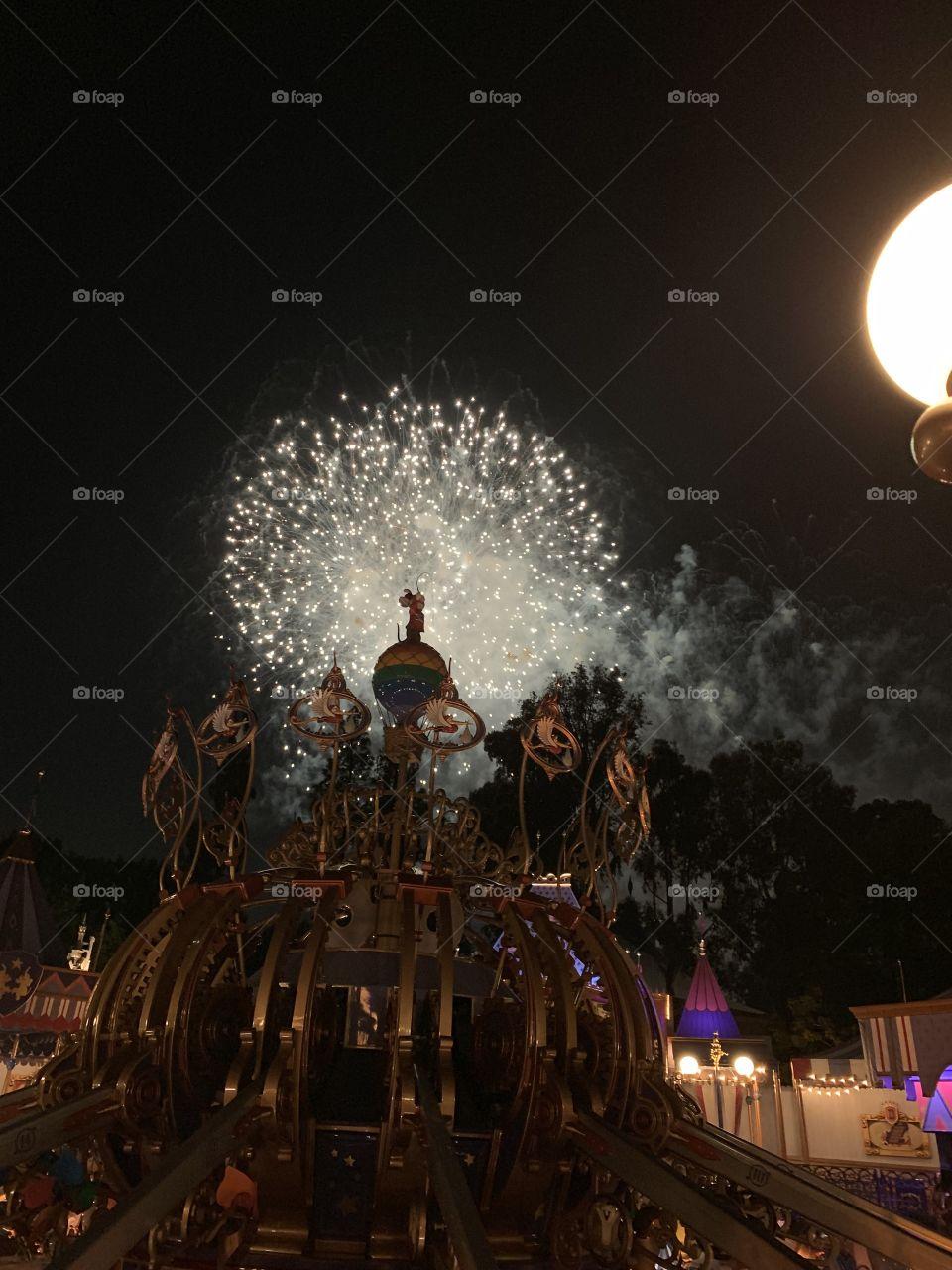 Fireworks over Dumbo at Disneyland