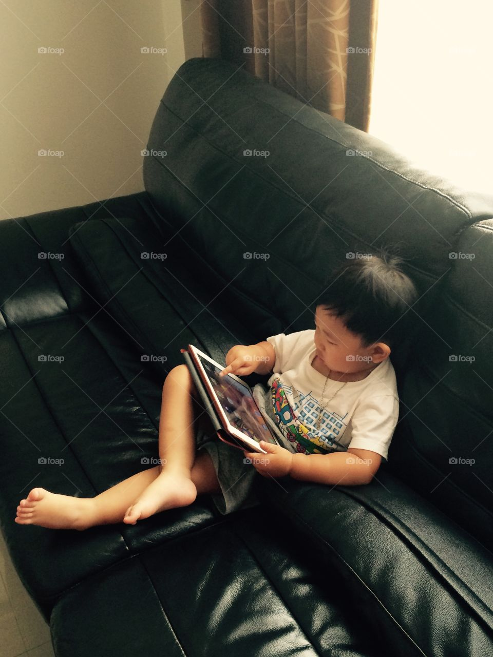 The boy with technology